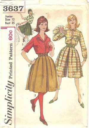 Simplicity #3637 Junior 1960s Button Front Shirt & Full Culottes in 2 Lengths Bust 35 Pattern