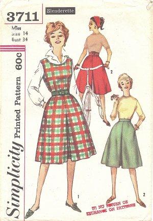 Simplicity #3711 Misses Slenderette 1960s Divided Skirt Jumper or Split Skirt Bust 34 Pattern