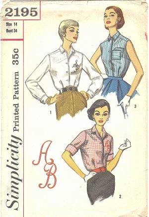 Simplicity #2195 Misses 1950s Shirt Style Blouses in 3 Views + Monogram Transfer B34 Pattern