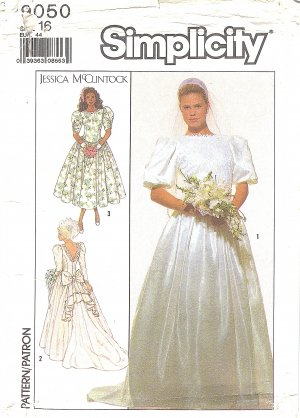 Jessica McClintock Simplicity #9050 Back Cascade Wedding Gown & Bridesmaid B38 FF Pattern