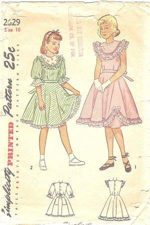 Simplicity #2629 Girls 1940s Ruffle Trimmed Yoke Bodice Party Dress Sz 10 Vintage Pattern