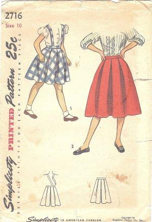 Simplicity #2716 Girls Vintage 1940s Box Pleated Skirt w/ Suspender Option Sz 10 Pattern
