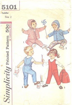 Simplicity #5101 Toddler Size 2 1960s Cold Weather Overall / Jacket / Hat Vintage Pattern