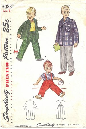 Simplicity #3083 Boys 1940s Jacket & Pant w/ Suspender Option Size 8 Pattern
