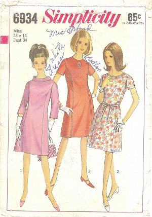 Simplicity #6934 Misses 1960s A-Line Princess Seam Dress - 3 Views Bust 34 Pattern
