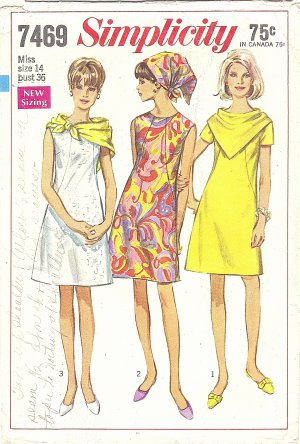 Simplicity #7469 Misses 1960s Dress w/ Front Seam Interest & 2 Triangle Scarves Bust 36 Pattern