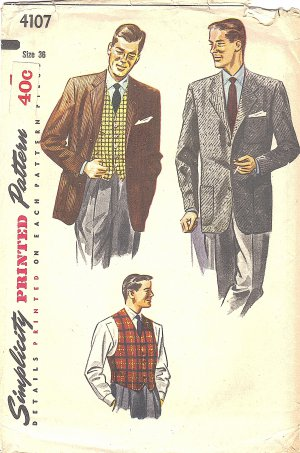 Simplicity #4107 Vintage Mens 1950s Sports Coat / Blazer & Belted Vest Chest 36 Pattern