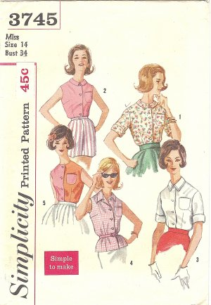 Simplicity #3745 Misses 1960s Summertime Button Front Blouses in 5 Views Bust 34 Pattern
