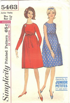 Simplicity #5463 Junior Petite 1960s Empire Dress  w/ Optional Bow Belt Bust 32 FF Pattern