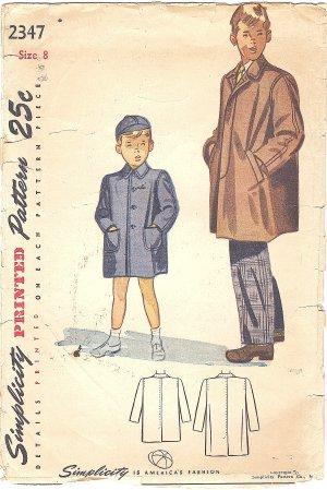 Simplicity #2347 Boys Vintage 1940s Coat in 2 Styles & Cap Size 8 Pattern