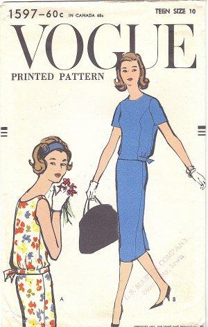 VOGUE #1597 Teen 1950s Blouson Waist Top in 2 Views & Slim Skirt Bust 30 Pattern