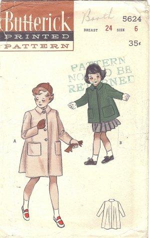 Butterick #5624 Girls 1950s Flared Back Pilgrim Collar Coat in 2 Lengths Size 6 Vintage Pattern
