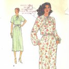 VOGUE #7313 Misses 1980s Blouson Waist Belted Dress w/ Shoestring Neck Bow Sz 10 Pattern