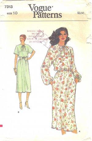 VOGUE #7313 Misses 1980s Blouson Waist Belted Dress w/ Shoestring Neck Bow Sz 10 Pattern