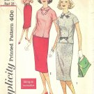 Simplicity #2608 Teen 1950s Notched Seam Overblouse & Slim Skirt Bust 34 Pattern
