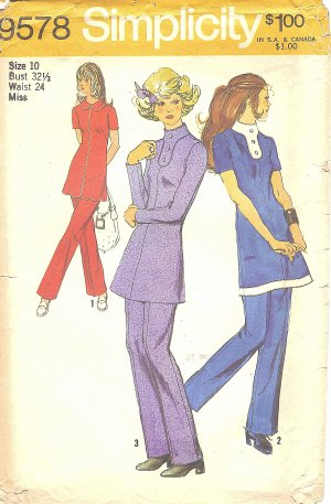 Simplicity #9578 Misses 1970s Tunic w/ Front Interest - 3 Versions and Pants Bust 32 1/2 Pattern