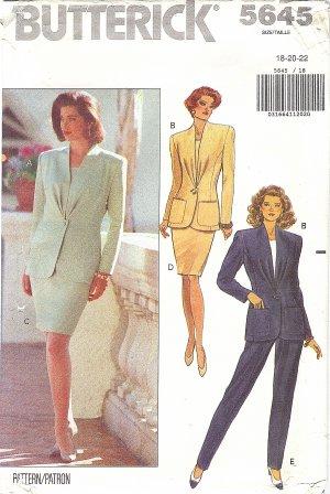Butterick #5645 Misses Pleat Front Jacket / Top / Slim Skirt / Pants Sz 18-20-22 FF Pattern