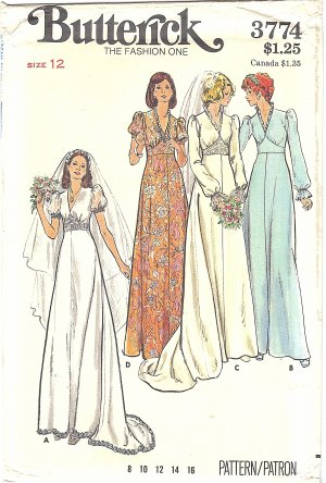 Butterick #3774 Misses 1970s V-Neck Wedding Gown or Bridesmaid Dress Bust 34 FF Pattern