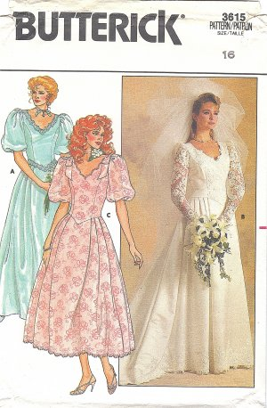 Butterick #3815 Misses Long or Poof Slv Wedding Gown or Bridesmaid Dress Bust 38 Pattern