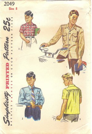 Simplicity #2049 Boys Vintage 1940s Sport or Dress Shirt w/ Short or Long Slv Size 8 Pattern