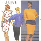 Butterick #3220 /  Chetta B Misses 1980s Blouson Top w/ Hip-band & Slim Skirt Sz 8-10-12 Pattern