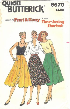 "Butterick #6570 Misses 1970s ""Fast & Easy"" Button Up Twirl Skirt Waist 25 Pattern"