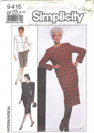 Simplicity #9415 Misses ReTrO 1980s Dressy Jacket & Slim Skirt Sz 6-8-10 Pattern
