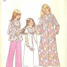 Simplicity #7202 Girls 1970s Nightgown / Pajamas / Long Robe w/ Ruffled Yoke Sz 10 Sewing Pattern