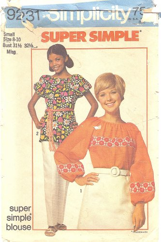 1970s Simplicity #9231 Misses Super Simple Peasant Style Trimmed Blouses Sz 8-10 Pattern