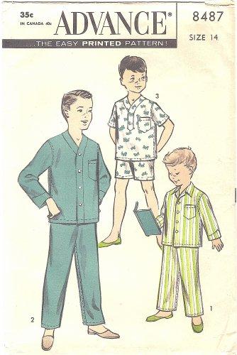 1950s Advance #8487 Boys Winter or Summer Pajama Sets-3 Views Size 14 Pattern