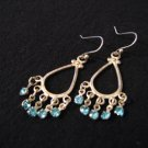 Vintage Silver Tone and Teal Aqua Blue Diamond Rhinestone Dangle Earrings