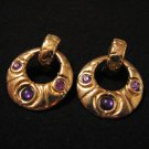 Vintage Gold Tone and Faux Purple Amethyst Stone Hoop Pierced Earrings