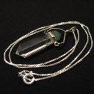 Vintage Sterling Silver Clear Faceted Crystal Gemstone Pendant Necklace