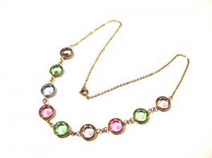 Vintage Deco Pastel Crystal Bezel Set Open Back Necklace
