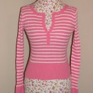 NWOT Aeropostale Pink & White Striped Fitted Sweater SMALL