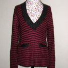 NWT Arizona Hot Pink Charcoal Stripe Knit Sweater LARGE