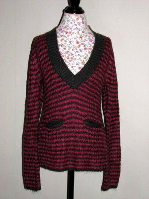 NWT Arizona Hot Pink Charcoal Stripe Knit Sweater LARGE