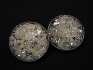Vintage Chunky Round Silver and Clear Glitter Lucite Clip Earrings