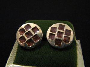 Vintage Gold Tone and Purple Enameled Round Stud Post Pierced Earrings