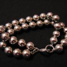 Antique Heavy German Silver Tone Beaded Double Strand Bracelet Signed
