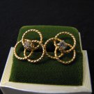 Vintage Gold Tone and Diamond Rhinestone Round Swirled Pierced Earrings