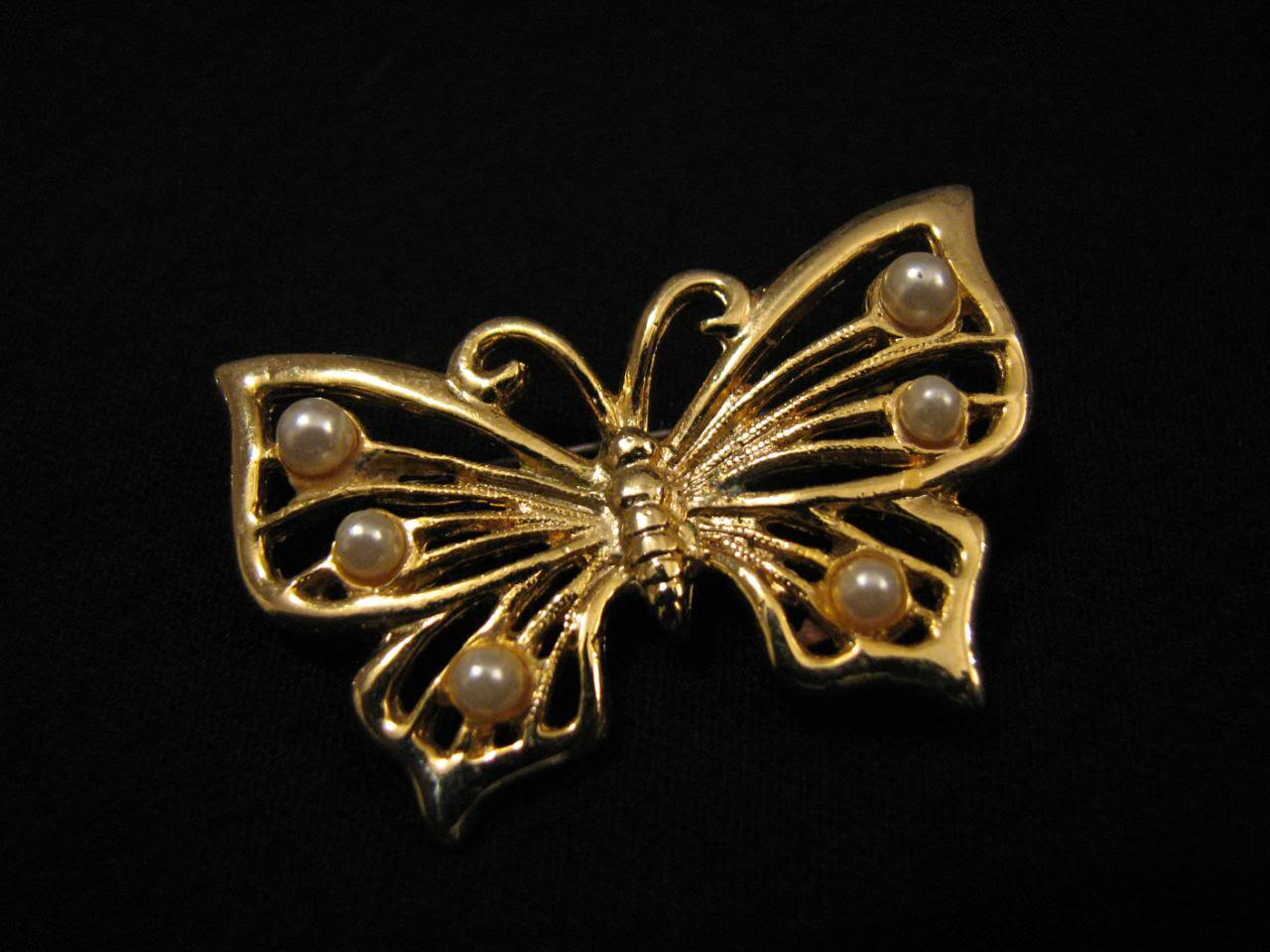 Vintage Gold Tone and White Faux Pearl Butterfly Pin Brooch
