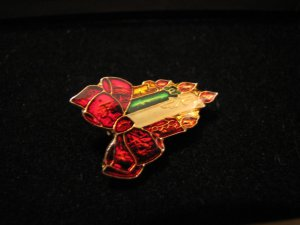 Vintage Gold Tone Rainbow Enamel Red Bow Candles Pin Brooch