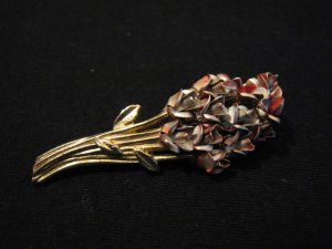 Vintage Gold Tone Dozen Red Roses Pin Brooch Signed