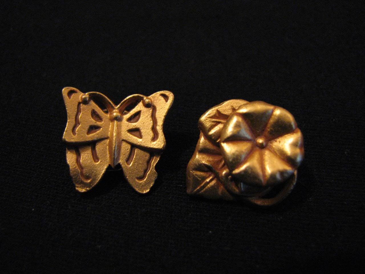 Vintage Gold Tone Butterfly and Flower Pin Brooch Set