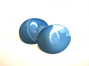 Vintage Blue Metal Oval Wave Pierced Earrings