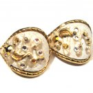 HUGE Vintage Gold Tone and White Leaf Diamond Rhinestone Hoop Pierced Earrigs
