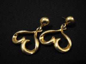 Vintage Gold Tone Dangle Heart Pierced Earrings