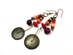 Vintage Brass and Rainbow Beaded Disc Dangle Pierced Earrings