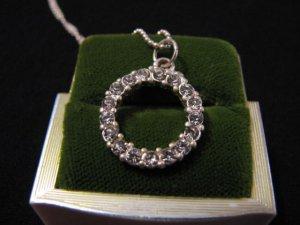 Vintage Silver Tone Diamond Rhinestone Eternity Pendant Beaded Chain Necklace